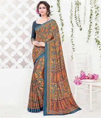 Mustard Yellow & Orange Color Crepe Office Wear Sarees : Arvika Collection  YF-49950