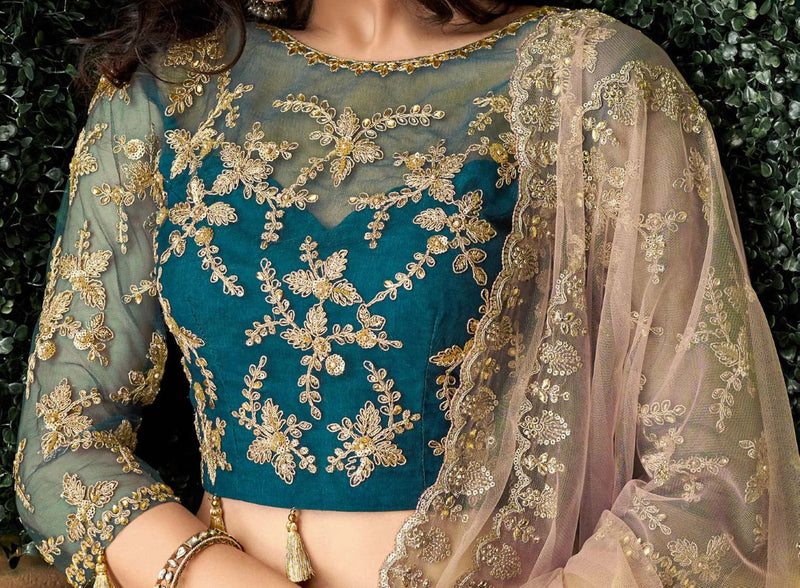 Blue Color Satin Silk Pretty Marriage Functions Lehengas NYF-4903