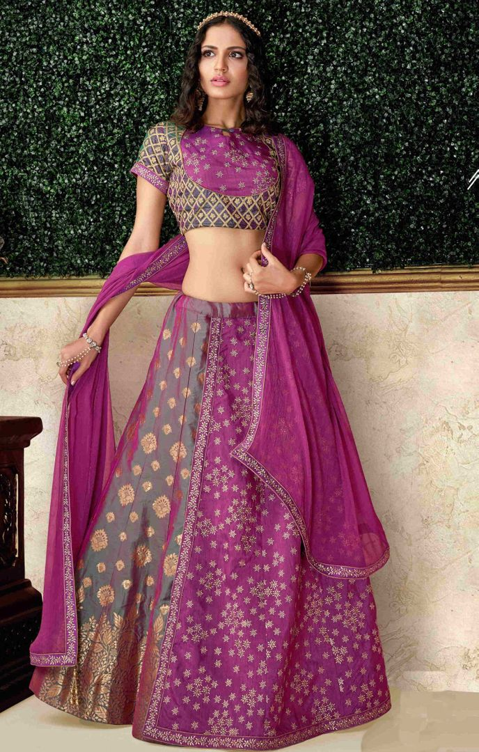 Green & Magenta Color Dual Tone Brocade & Raw Silk Pretty Marriage Functions Lehengas NYF-4904
