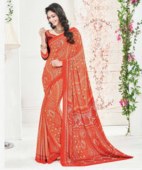 Orange Color Crepe Office Wear Sarees : Arvika Collection  YF-49952