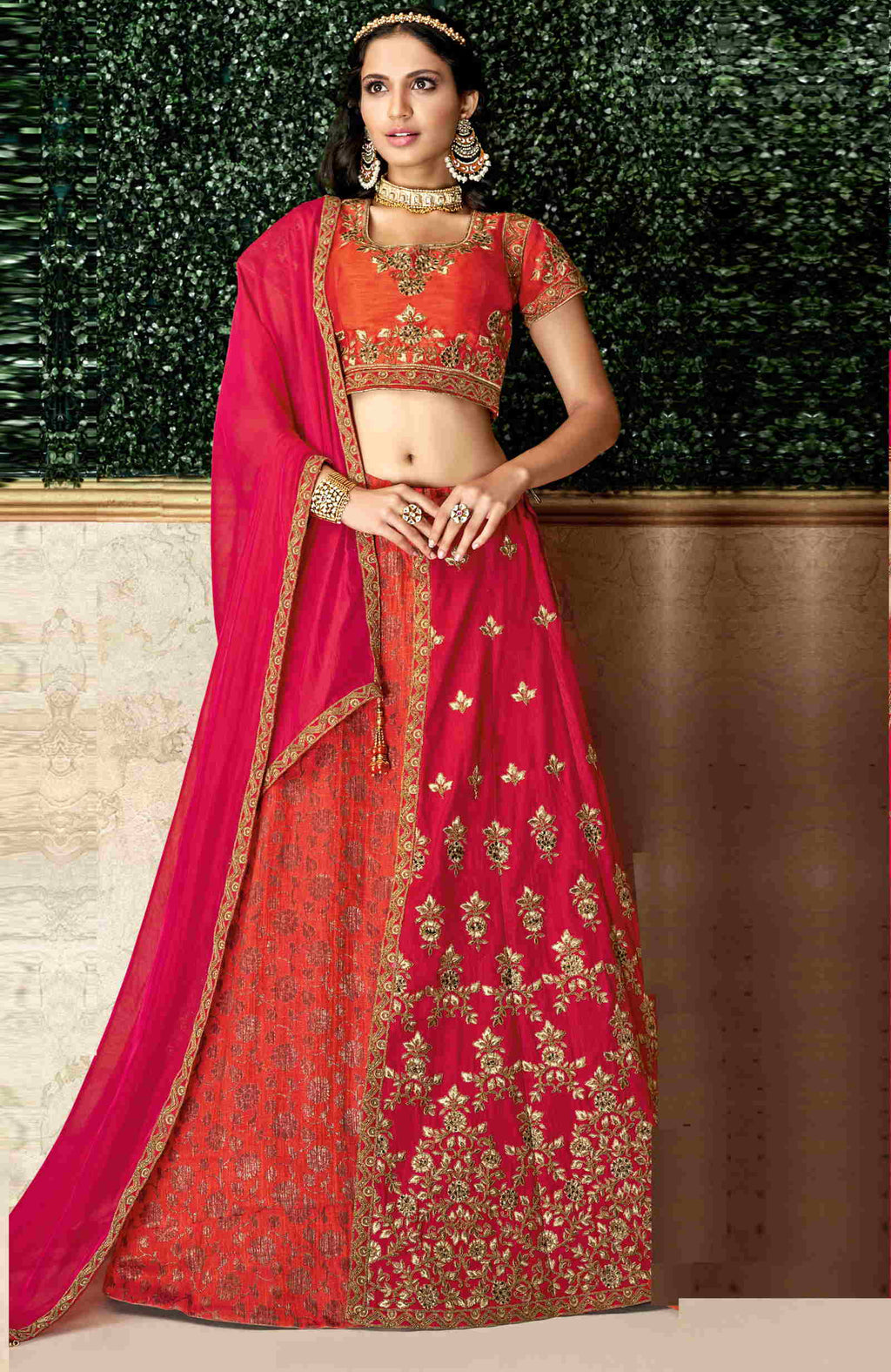 Orange & Pink Color Jacquard Silk & Dual Tone Raw Silk Pretty Marriage Functions Lehengas NYF-4905
