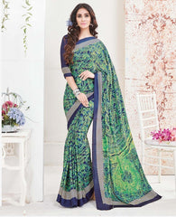 Green & Blue Color Crepe Office Wear Sarees : Arvika Collection  YF-49953