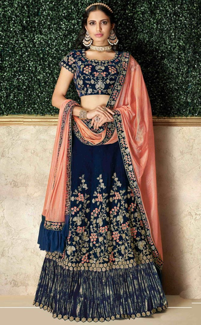 Blue Color Velvet Pretty Marriage Functions Lehengas NYF-4906