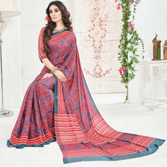 Grey & Red Color Crepe Office Wear Sarees : Arvika Collection  YF-49954