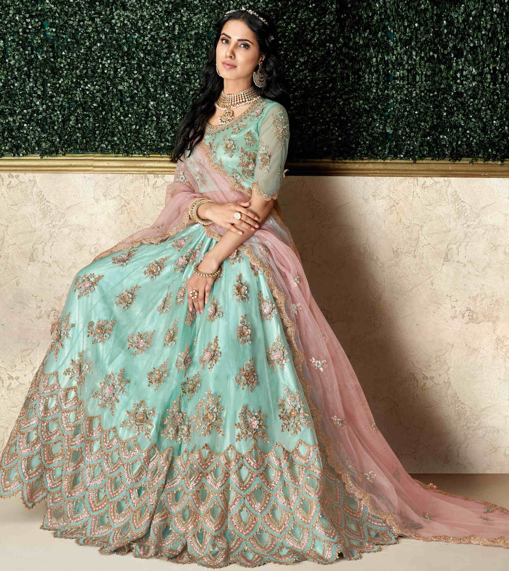 Aqua Blue Color Taffeta Silk & Net Pretty Marriage Functions Lehengas NYF-4907