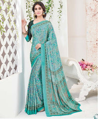 Sea Green Color Crepe Office Wear Sarees : Arvika Collection  YF-49955