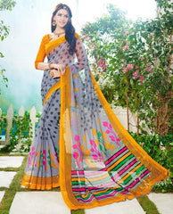 Grey & Mustard Yellow Color Soft Super Net Daily Wear Sarees : Saundarya Collection  YF-40215