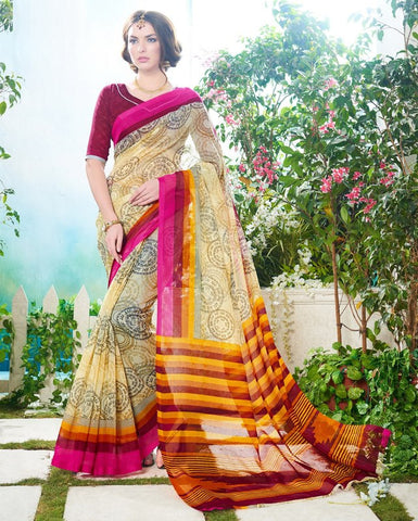Light Yellow & Pink Color Soft Super Net Daily Wear Sarees : Saundarya Collection  YF-40216