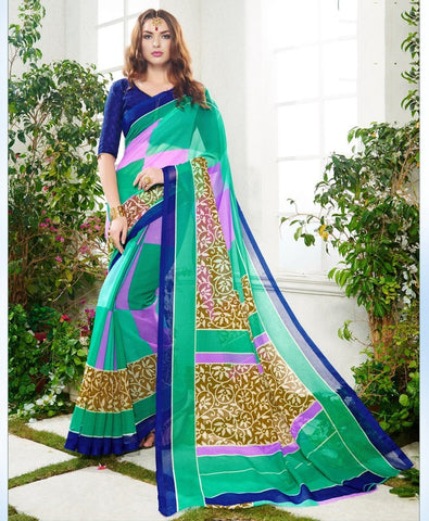 Pink, Blue & Green Color Soft Super Net Daily Wear Sarees : Saundarya Collection  YF-40218