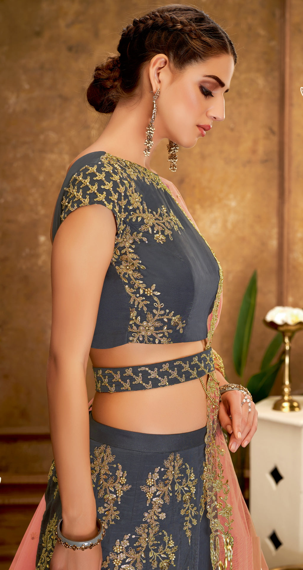 Grey Color Raw Silk Glamorous Party Wear Lehengas NYF-5821