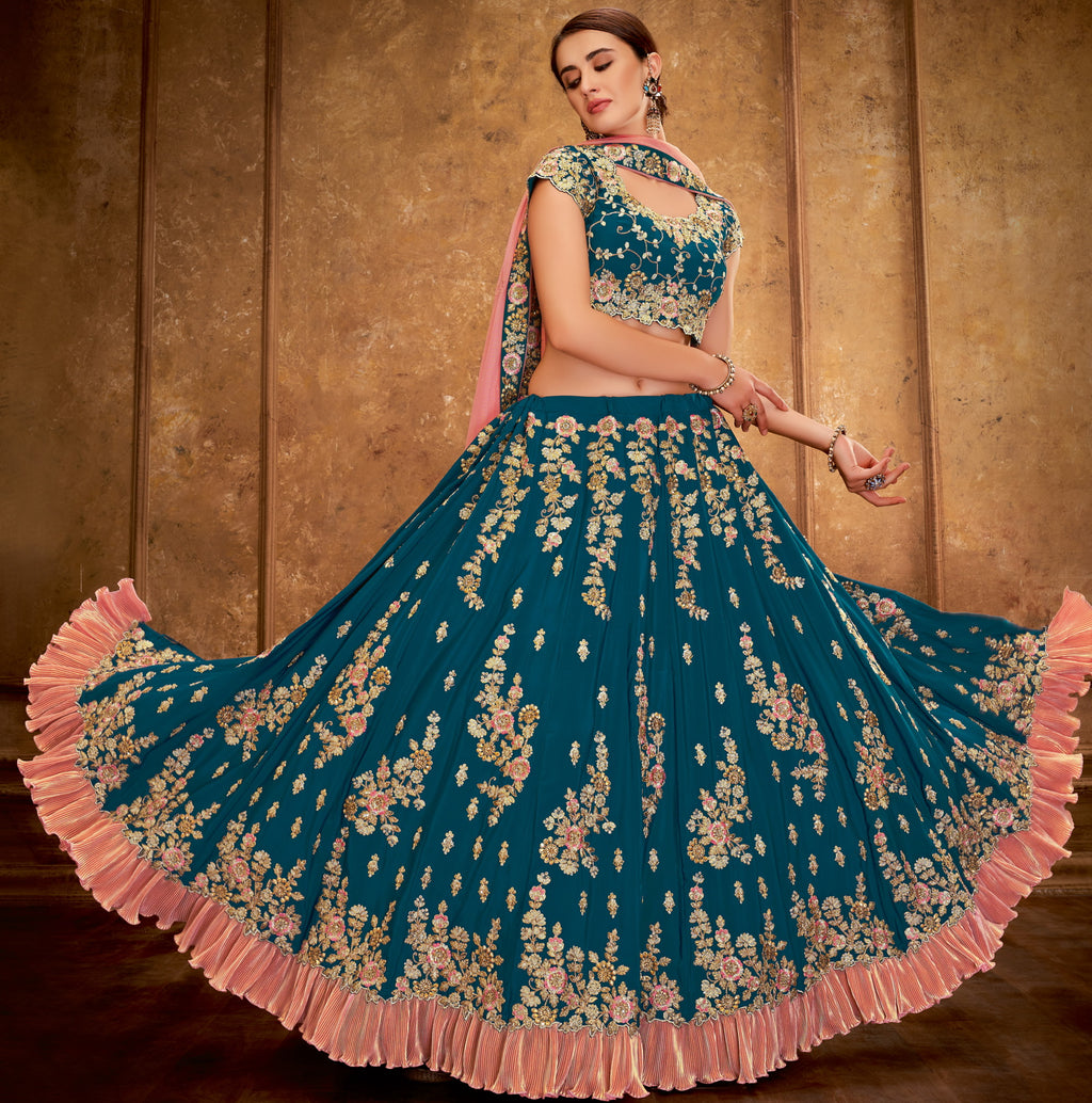 Rama Blue Color Crepe Silk Glamorous Party Wear Lehengas NYF-5822