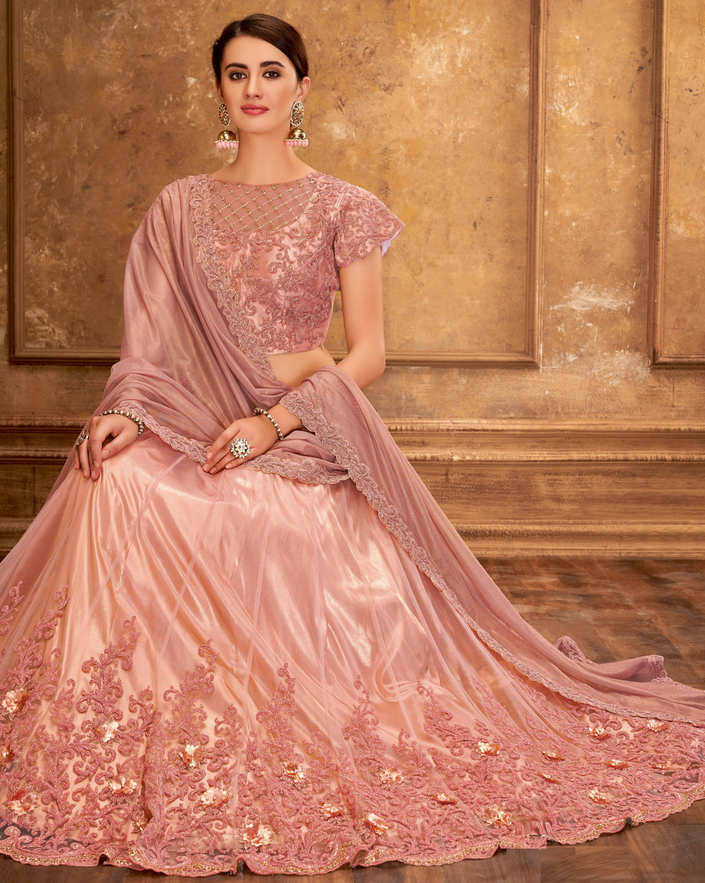 Pink Color Net Glamorous Party Wear Lehengas NYF-5824