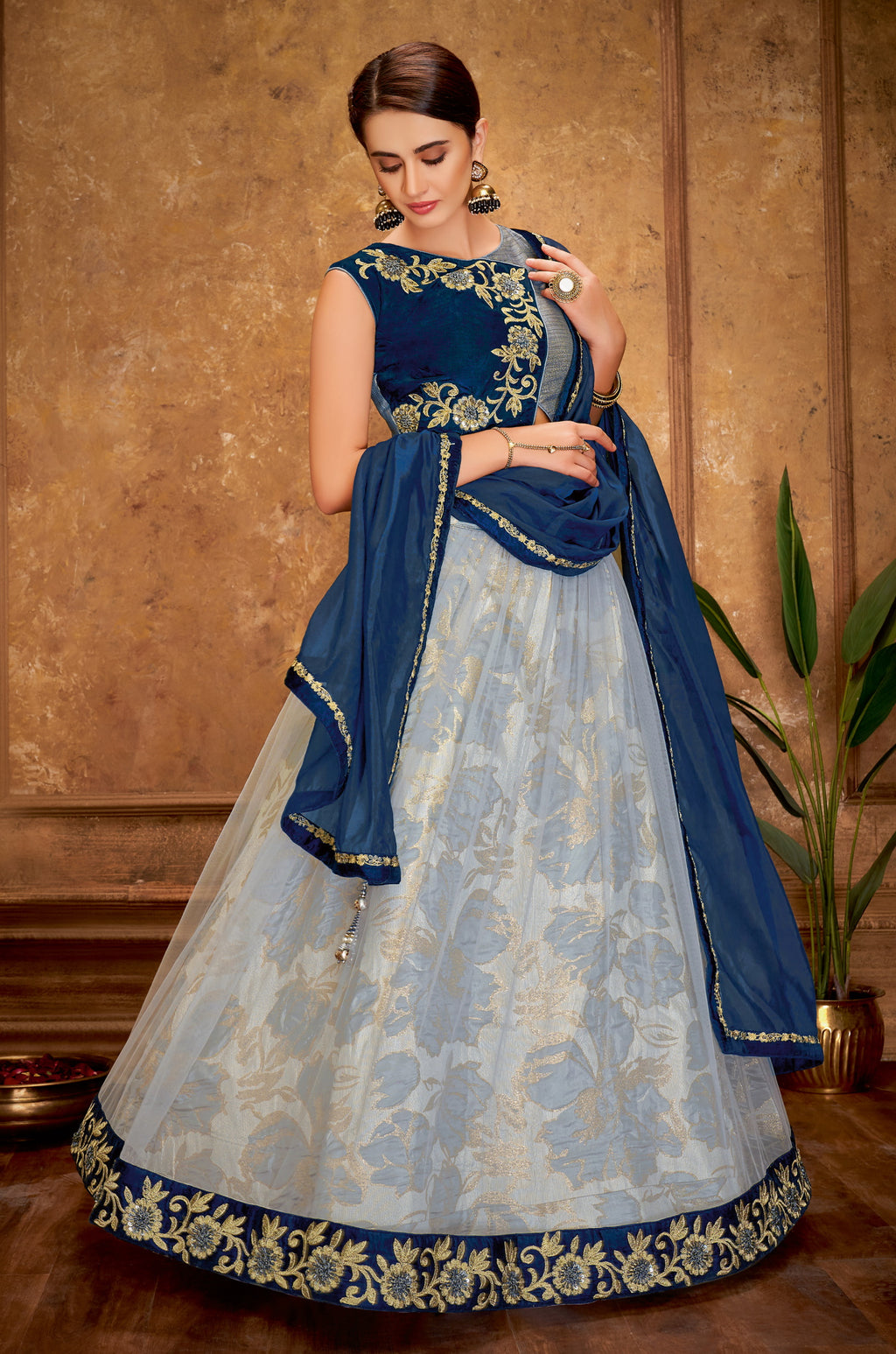 Aqua Blue Color Net Glamorous Party Wear Lehengas NYF-5825