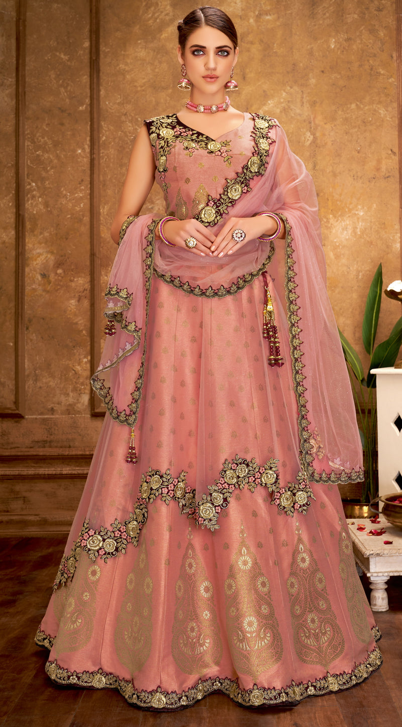 Pink Color Net Glamorous Party Wear Lehengas NYF-5826