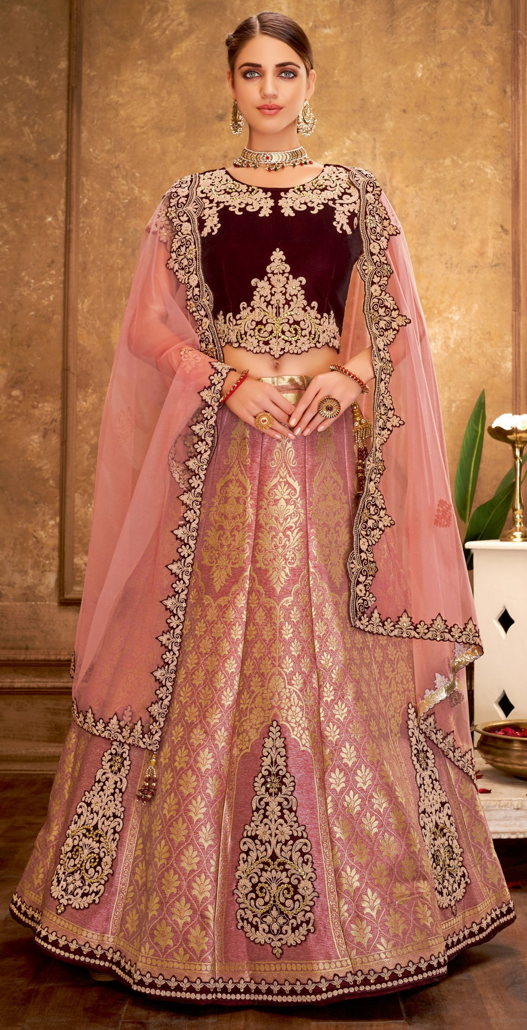 Pink Color Weaving Silk Glamorous Party Wear Lehengas NYF-5828