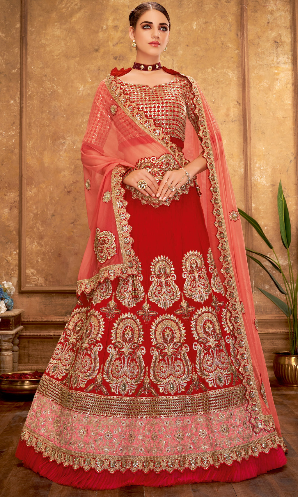 Red Color Raw Silk Glamorous Party Wear Lehengas NYF-5829