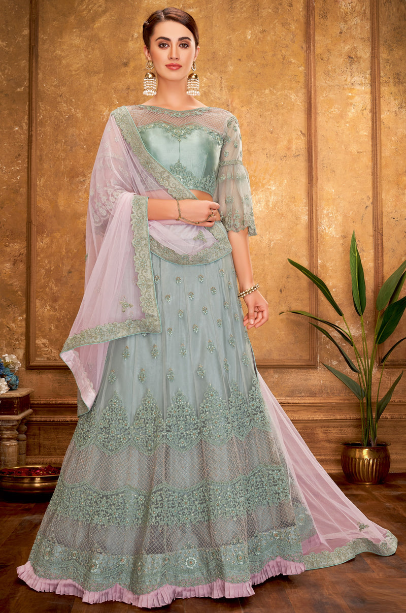 Moss Green Color Net Glamorous Party Wear Lehengas NYF-5833