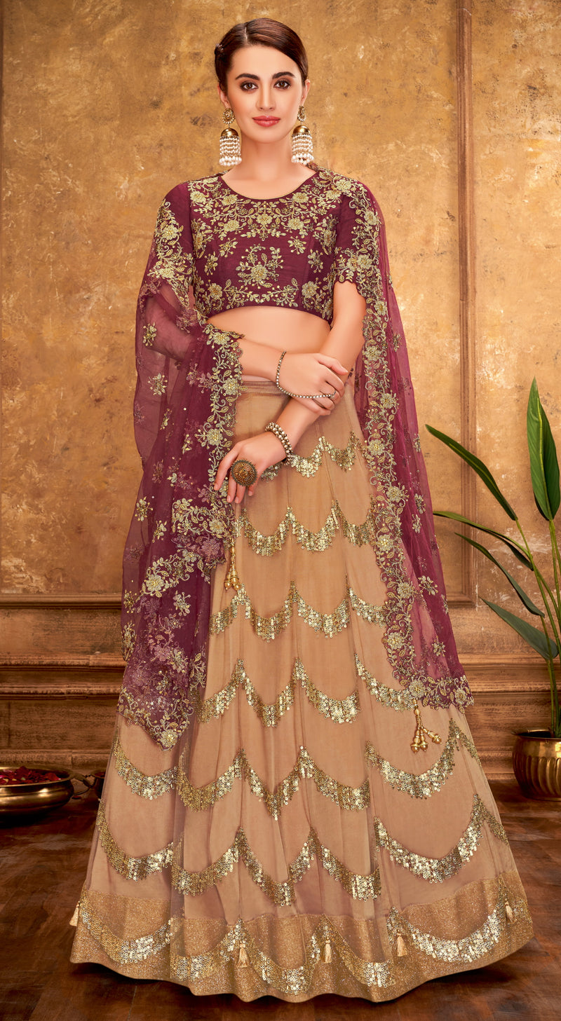 Light Coffee Color Net Glamorous Party Wear Lehengas NYF-5834