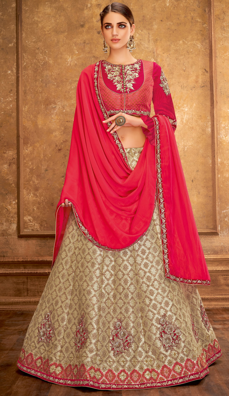 Off White Color Weaving Silk Glamorous Party Wear Lehengas NYF-5835