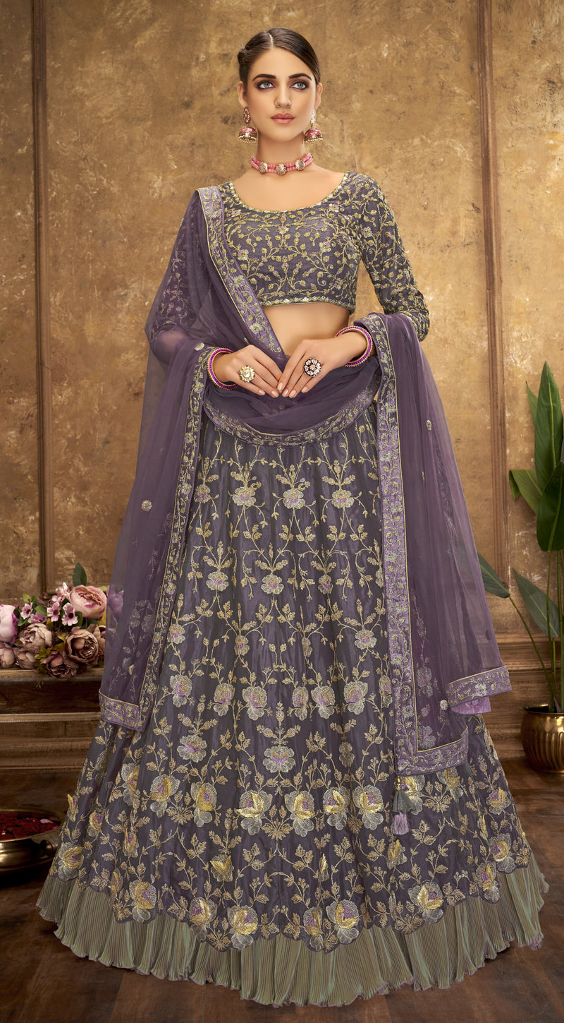 Lavender Color Net Glamorous Party Wear Lehengas NYF-5836