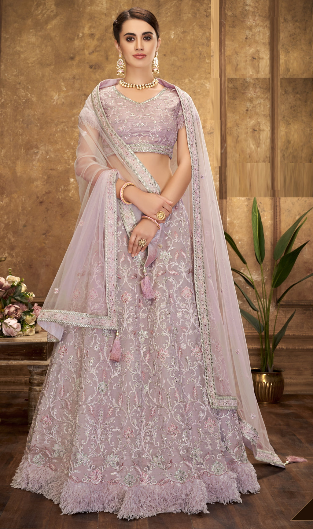 Lavender Color Net Glamorous Party Wear Lehengas NYF-5837