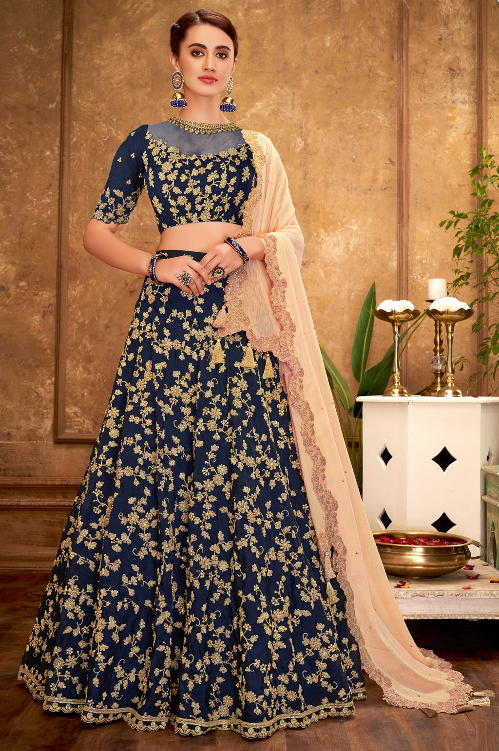 Blue Color Raw Silk Glamorous Party Wear Lehengas NYF-5838