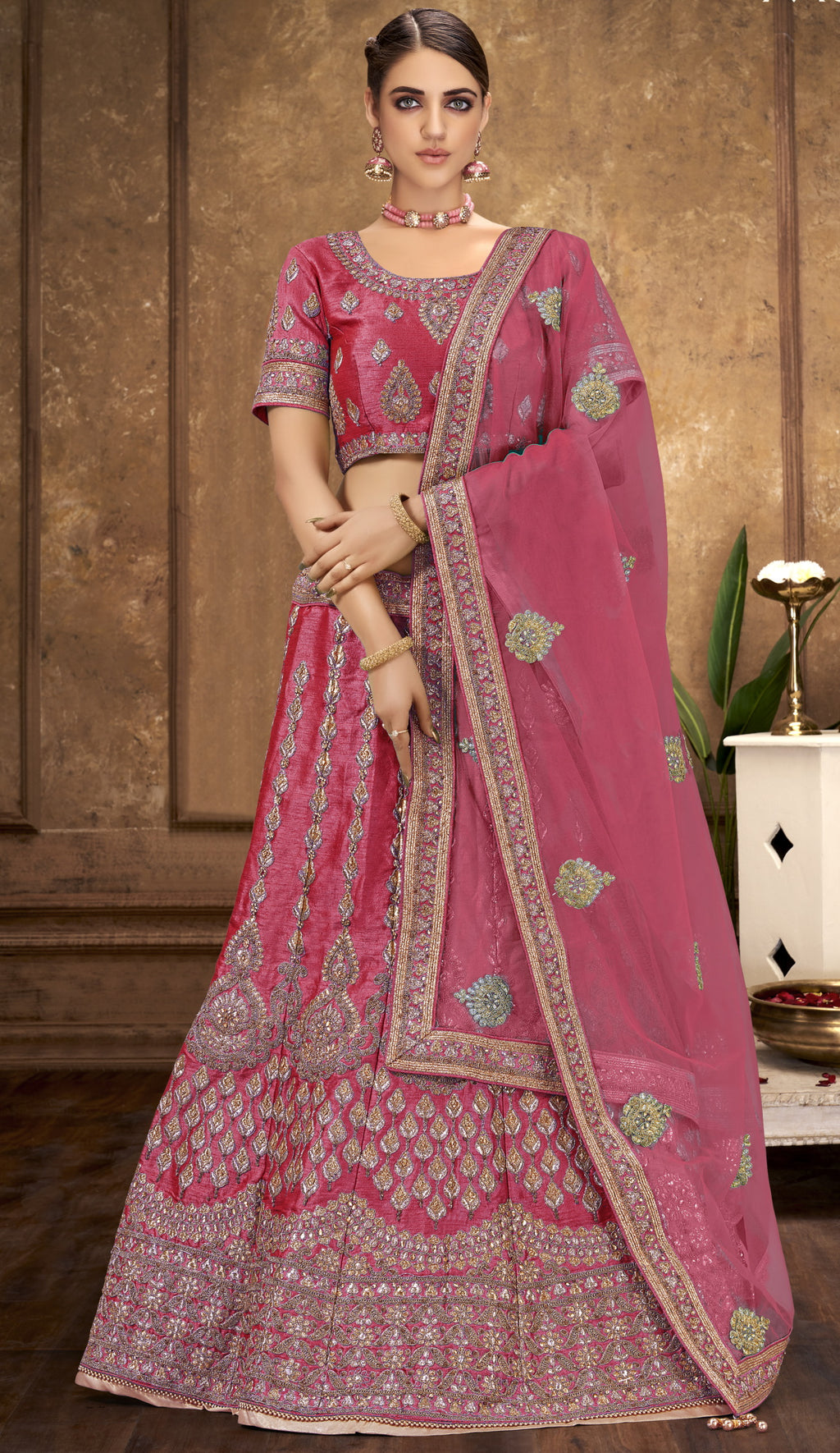 Pink Color Raw Silk Glamorous Party Wear Lehengas NYF-5840