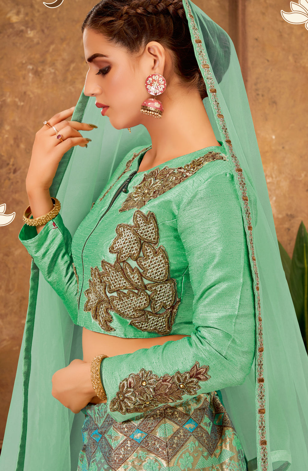 Sea Green Color Weaving Silk Glamorous Party Wear Lehengas NYF-5841