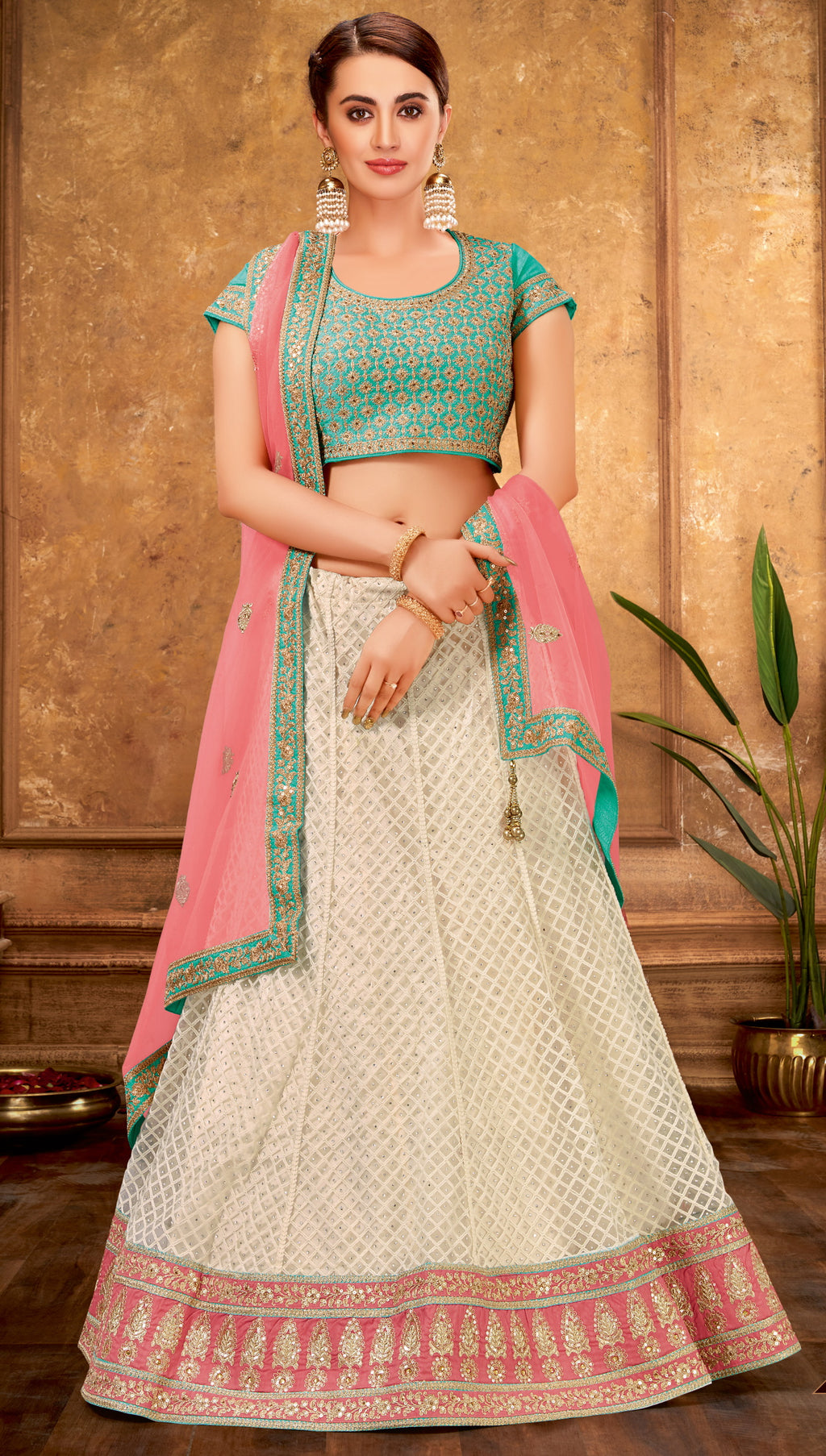 White Color Net Glamorous Party Wear Lehengas NYF-5842