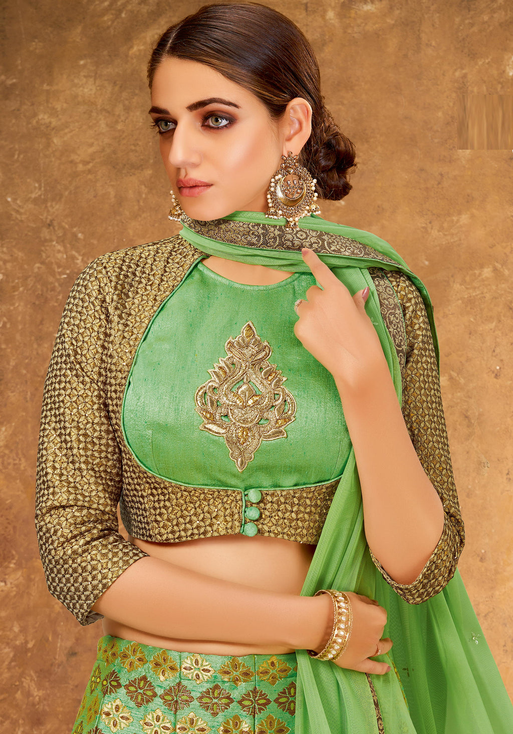 Green Color Weaving Silk Glamorous Party Wear Lehengas NYF-5843