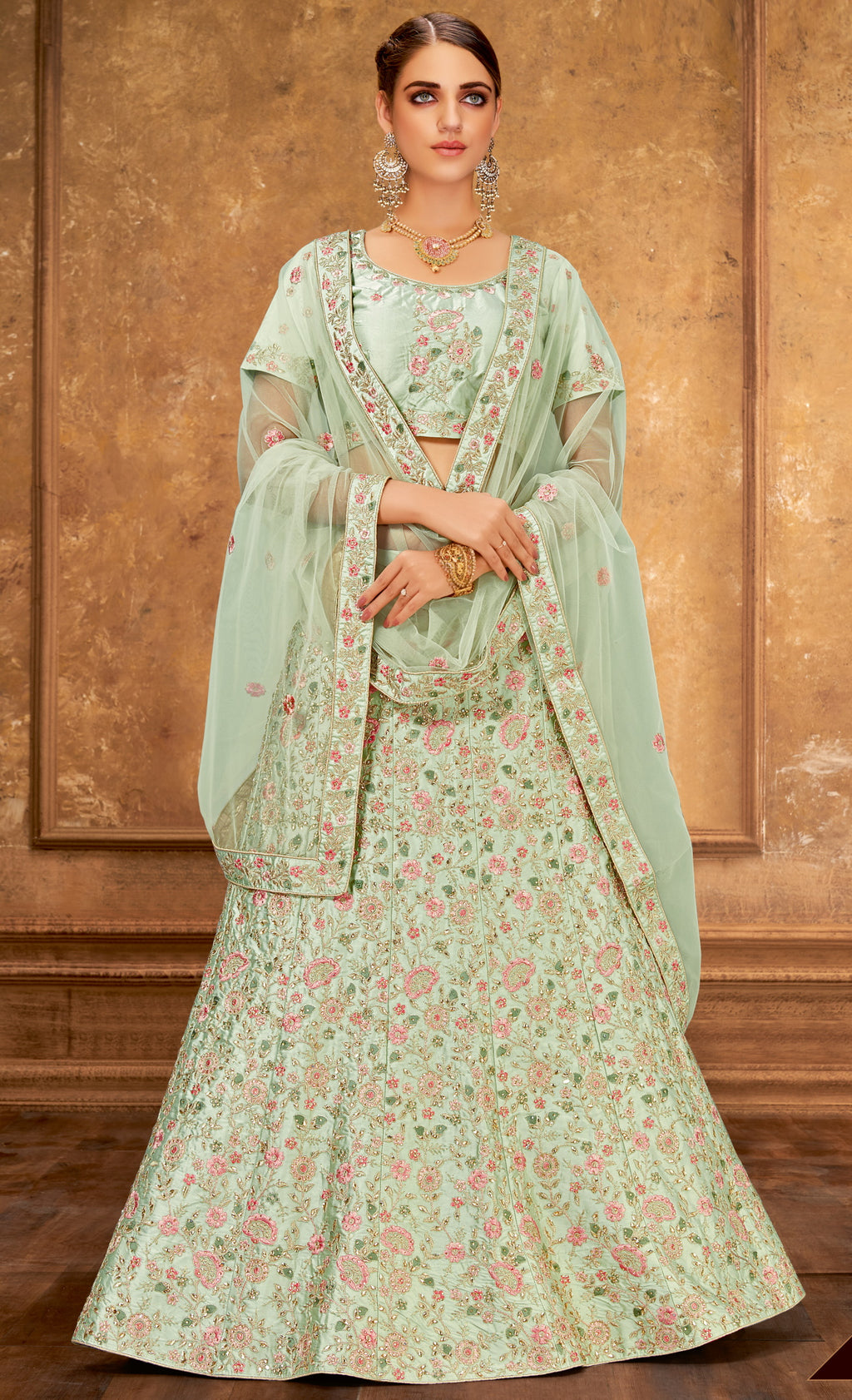 Aqua Green Color Raw Silk Glamorous Party Wear Lehengas NYF-5844
