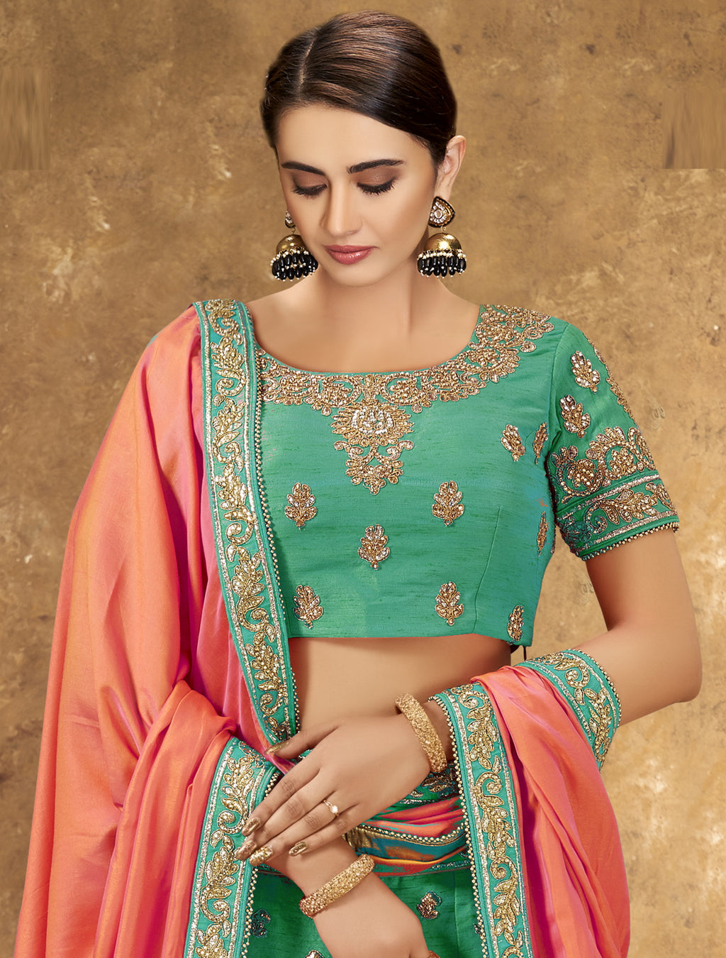 Rama Green Color Raw Silk Glamorous Party Wear Lehengas NYF-5845