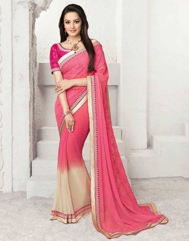Cream & Pink Color Georgette Function & Occasion Sarees : Sajda Collection  YF-28367