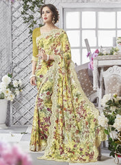Lemon Yellow & Green Color Georgette Party Wear Sarees : Chitrita Collection  YF-45725