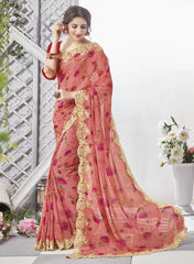 Gajjaria & Pink Color Georgette Party Wear Sarees : Chitrita Collection  YF-45727