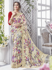 Cream & Purple Color Georgette Party Wear Sarees : Chitrita Collection  YF-45728