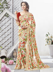 Cream, Orange & Green Color Georgette Party Wear Sarees : Chitrita Collection  YF-45729