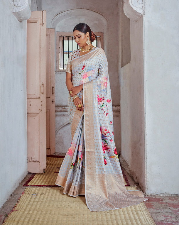 Multi Color Soft Silk Weaving Digital  Print Ethnic wear saree -     Ramith  Collection  YF#11377