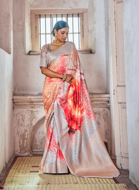Multi Color Soft Silk Weaving Digital  Print Ethnic wear saree -     Ramith  Collection  YF#11380