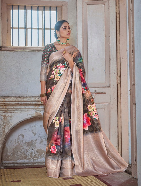Brownish Grey Color Soft Silk Weaving Digital  Print Ethnic wear saree -     Ramith  Collection  YF#11381