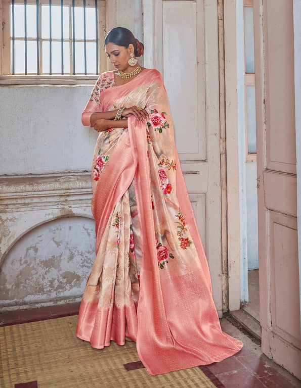 Cream and Pink Color Soft Silk Weaving Digital  Print Ethnic wear saree -     Ramith  Collection  YF#11382
