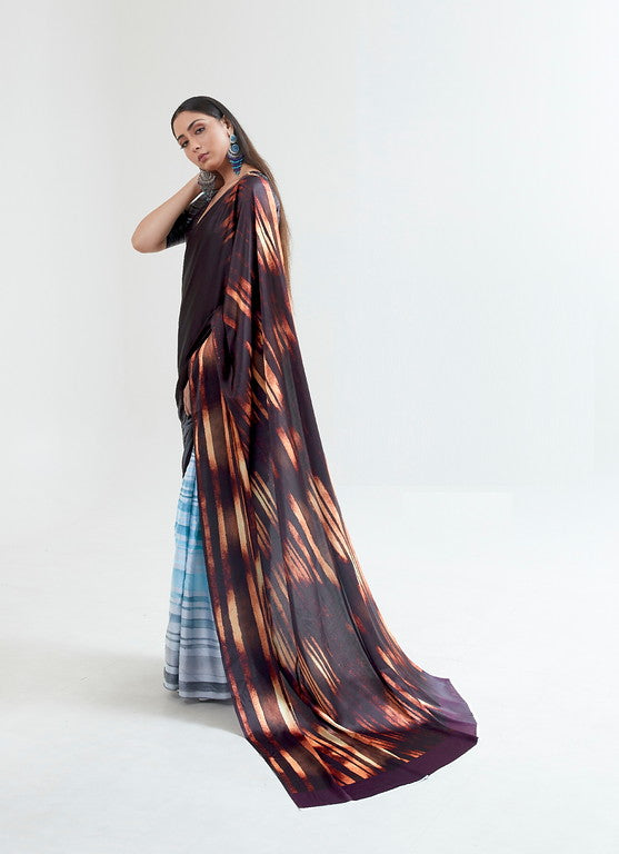 Blue and Brown Color Italian Satin Crepe Casual Wear Saree  -  Dhriti Collection YF#11054