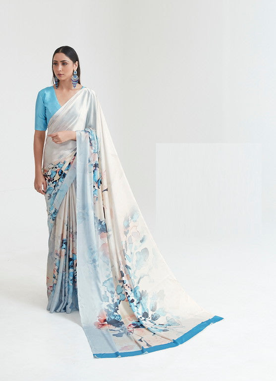 Off white and Blue Color Italian Satin Crepe Casual Wear Saree  -  Dhriti Collection YF#11058