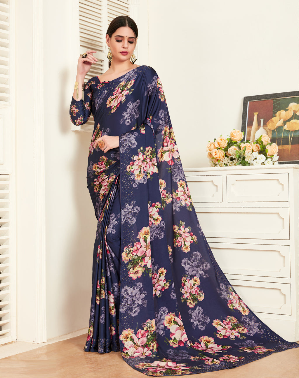 Blue Color Crepe Silk Printed Office Party Sarees NYF-6138