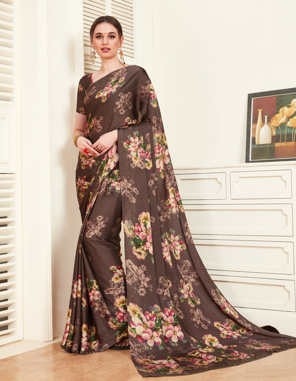 Burgandy Color Crepe Silk Printed Office Party Sarees NYF-6139