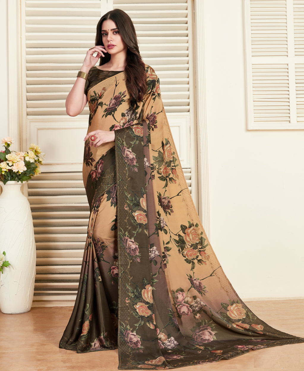 Light Orange Color Crepe Silk Printed Office Party Sarees NYF-6141