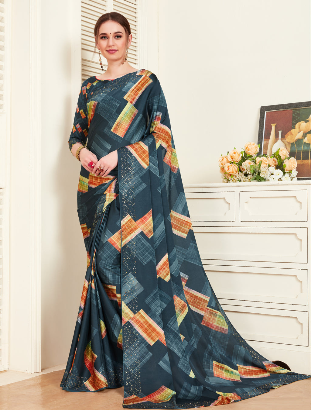 Shades Of Blue Color Crepe Silk Printed Office Party Sarees NYF-6143