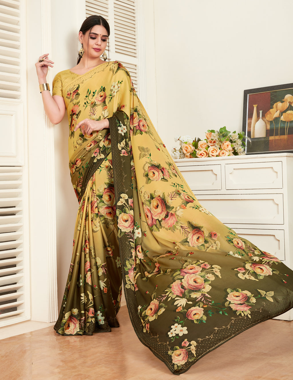 Yellow & Olive Green Color Crepe Silk Printed Office Party Sarees NYF-6144