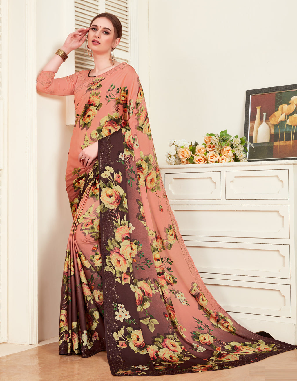 Pink & Burgandy Color Crepe Silk Printed Office Party Sarees NYF-6145