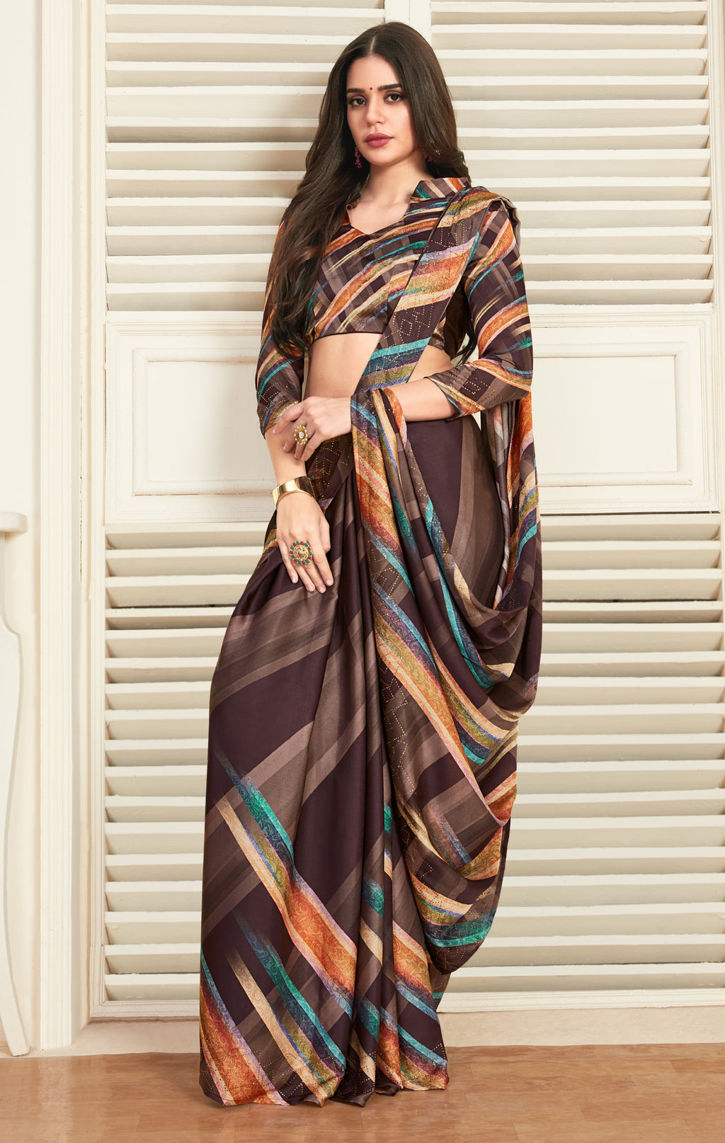 Multi Color Crepe Silk Printed Office Party Sarees NYF-6150
